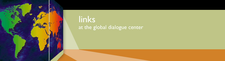 Green banner with the words Links at the Global Dialogue Center and a colorful image of the world