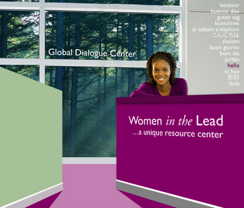 an image of the Women in the Lead lobby at the Global Dialogue Center with a women greeting all those who enter and the words hello in many languages on the wall behind her, there is also a window wall looking out into the woods with beams of sun light coming through the trees